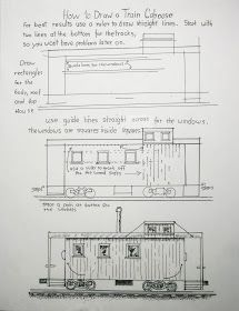 How to draw a train caboose printable worksheet.