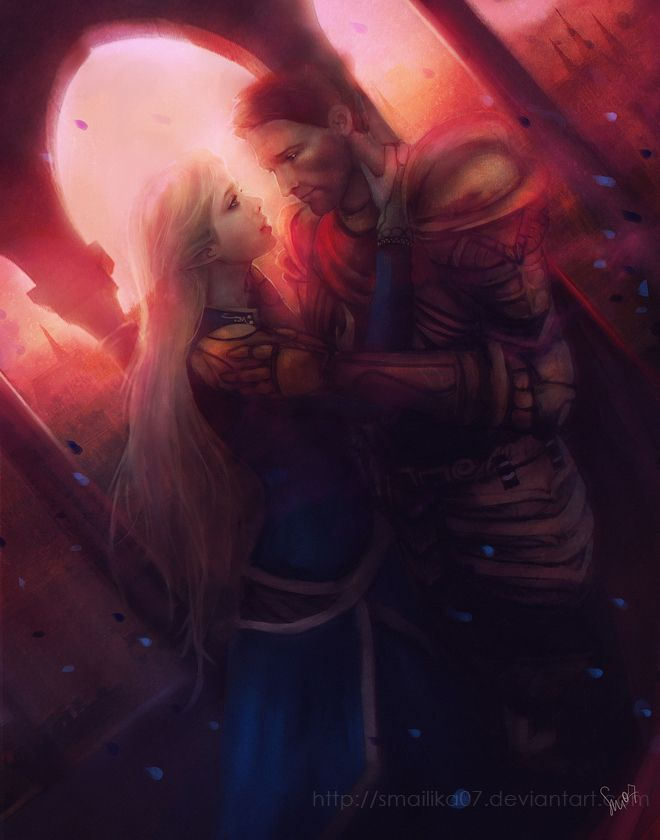 Alistair and the elf mage origin warden from DAO. After Alistair becomes king.