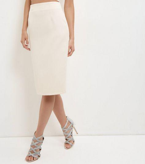 Shell Pink Crepe Midi Skirt  | New Look