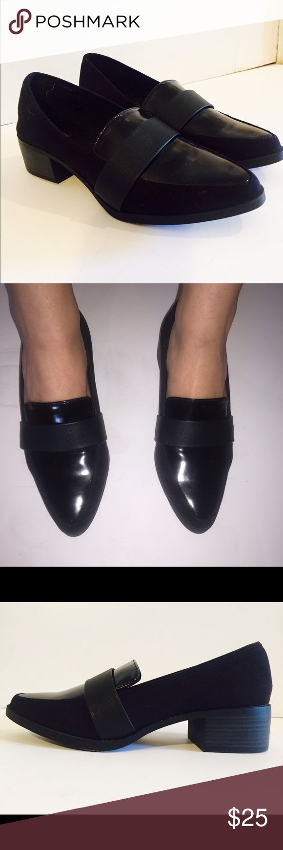 Black Suede Loafers Trendy Black Suede Loafers with Leather Strap---Size 8---Brand New Never Been Worn! Shoes Flats & Loafers