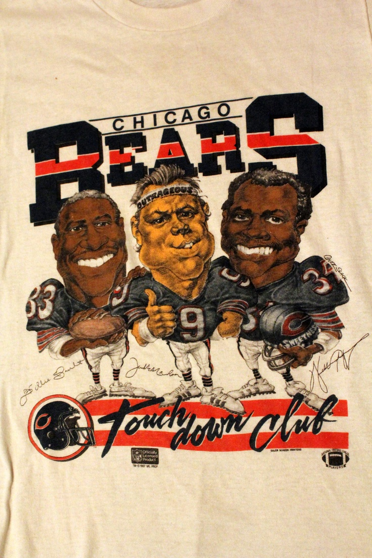 DA Bears !!! One of a kind 80s Caricature shirt with Jim McMahon, Willie Gault, and Walter Payton