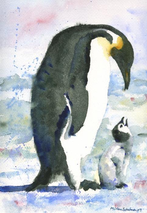 penguin watercolor