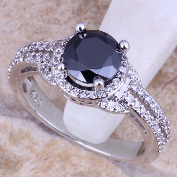 Black Created Sapphire White CZ 925 Sterling Silver  Ring For Women Size 5 / 6 / 7 / 8 / 9 / 10 / 11 / 12  S0442