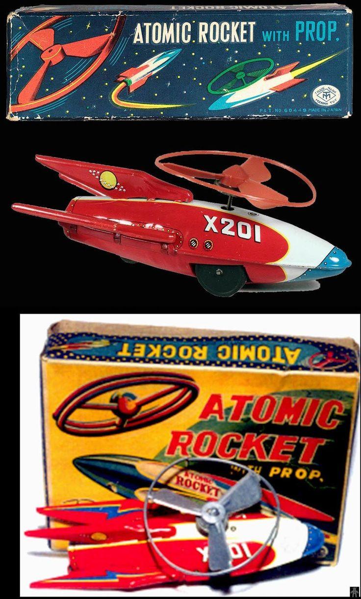ATOMIC ROCKET X201 WITH PROP - MASUDAYA - JAPAN - ALPHADROME ROBOT AND SPACE TOY DATABASE