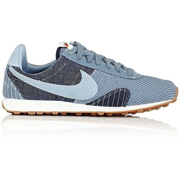 """Nike Women's \""""Pre Montreal Racer Vintage\"""" Sneakers found on Polyvore featuring shoes, sneakers, navy, vintage sneakers, navy blue flat shoes, nike, lace up shoes and navy blue sneakers"""