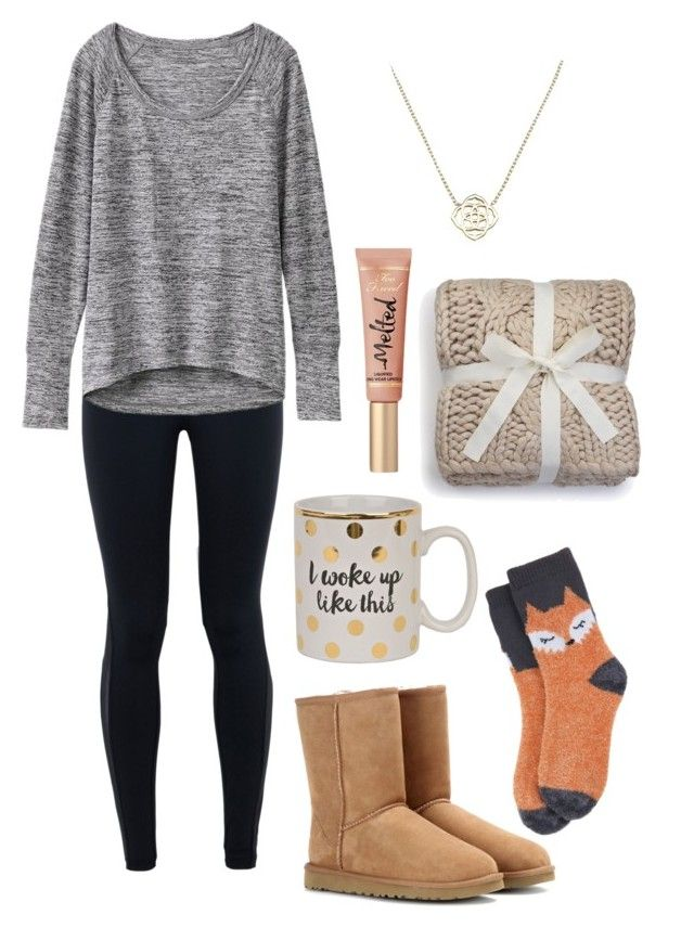 Good Morning! by vineyard-vines-love on Polyvore featuring Athleta, NIKE, Target, UGG Australia, Kendra Scott and Too Faced Cosmetics