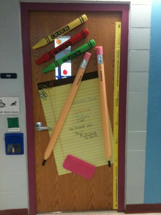 my classroom door.   pencils made from water noodles and eraser is made from a garden kneeling pad...
