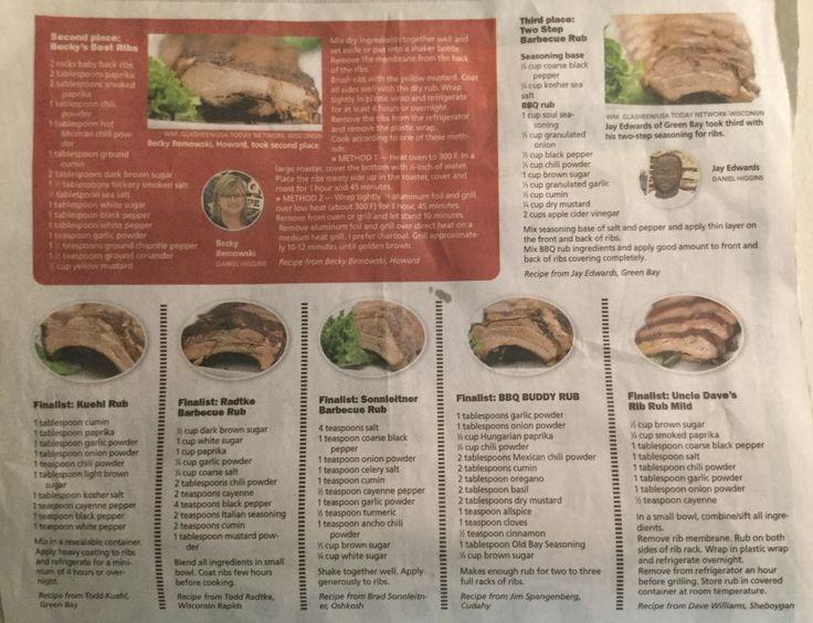 Runner-ups, rib dry rubs-Green Bay Press Gazette 2017