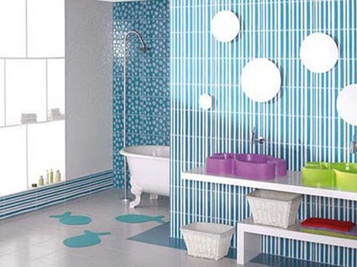 Bathroom Blue Wall Tile Designs Ideas with white blue wall painting along green purple unique vanity sink also white basket plus white bathtub with chrome arched shower