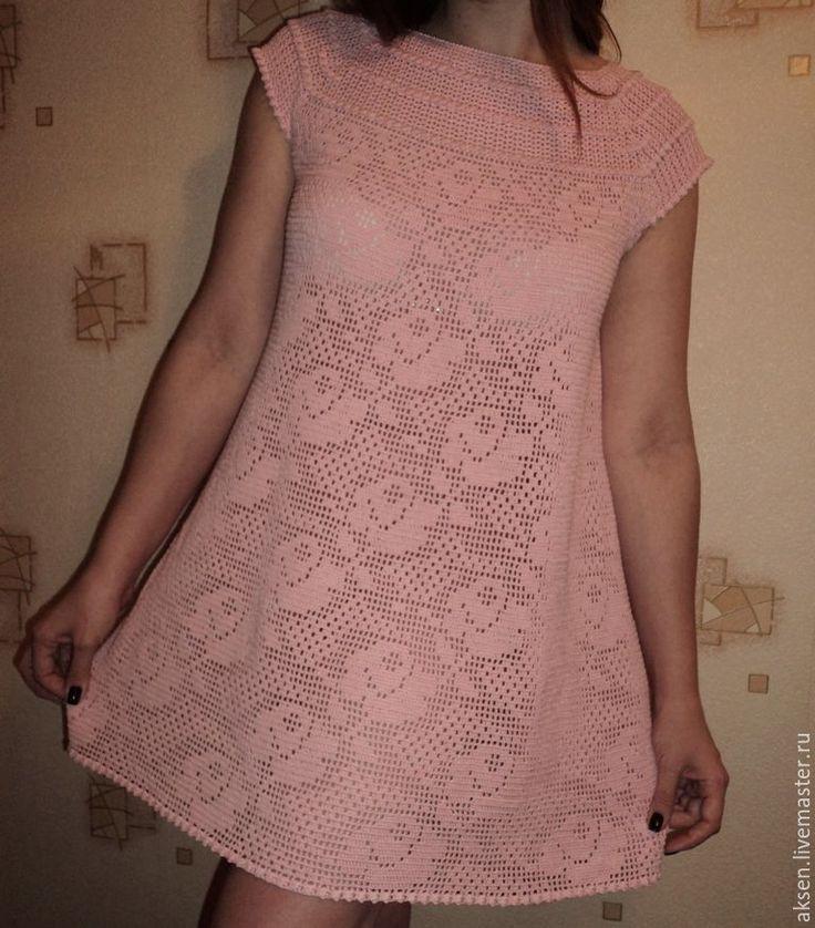 """Купить Платье """"МЕЧТЫ О ЛЕТЕ"""" - розовый, филейное вязание, Филейное кружево"""