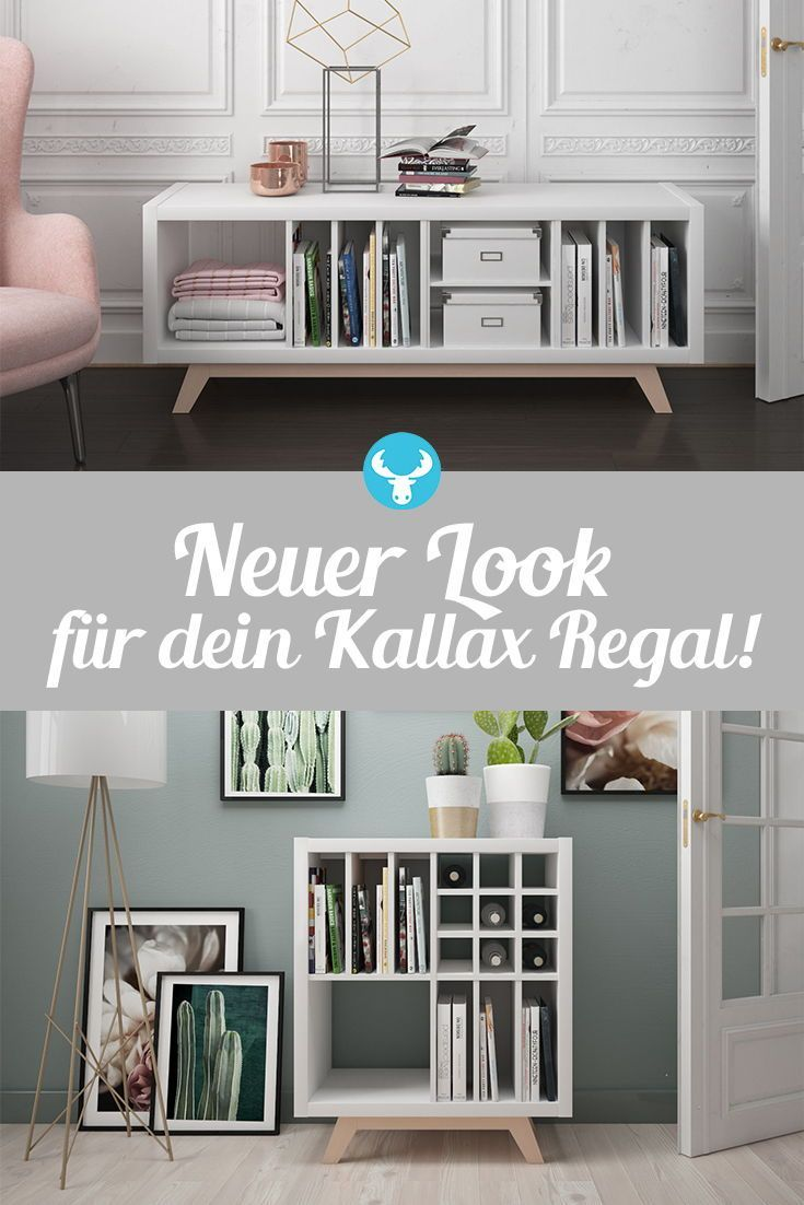 Verpasse deinem Kallax Regal mit dem Untergestell aus Holz einen neuen Look und