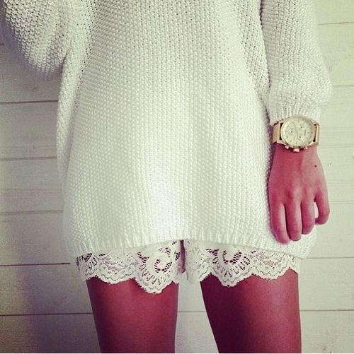 lace shorts and oversized sweater... perfect
