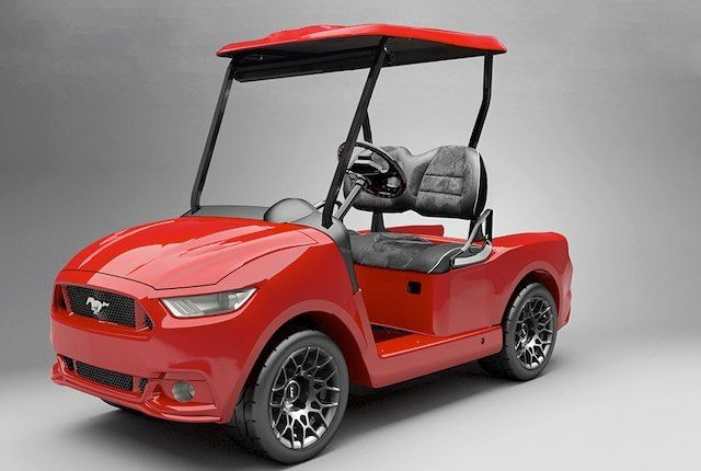 Custom Golf Carts - via Worthly.com - The 2016 Ford Mustang cart  Fans of American muscle cars will probably like the 2016 custom Ford Mustang golf cart from Caddyshack Golf Carts. Available in either gas or electric models the 2016 Ford Mustang is a fairly small golf cart compared to the others on our list however it will certainly turn heads. It can reach speeds of 19.5 mph and Caddyshack Golf Carts also offer a range of added options like a carbon fiber dashboard a roof fan a surround…