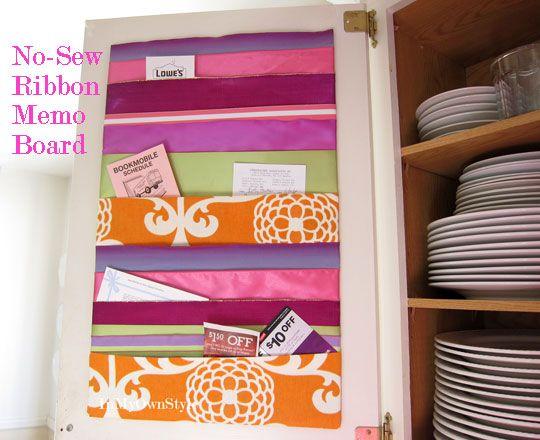 No-Sew Ribbon Memo Board. Practical and Cute!