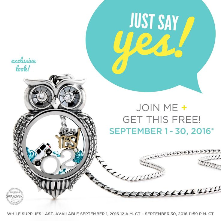 """Say Yes, Olivia!"" Locket yours FREE when you join O2 in September.   #origamiowl #O2olivia #beyourownboss #ladyboss #livinglockets #owl #jeep #sayyes #owllocket"