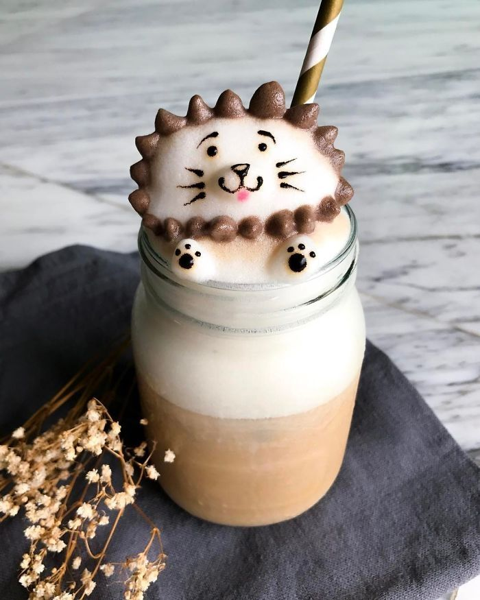 Spiky Cat. 3D Coffee Latte Creature Designs. By Daphne Tan.