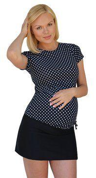 Modest Maternity Short Sleeve Rash Guard With Swim Skirt