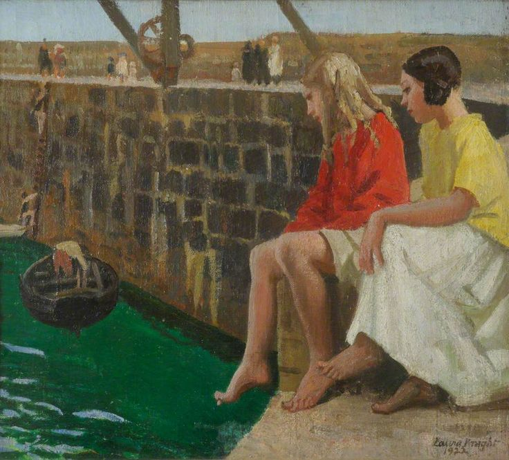 Two Girls by a Jetty, by Laura Knight, 1922.