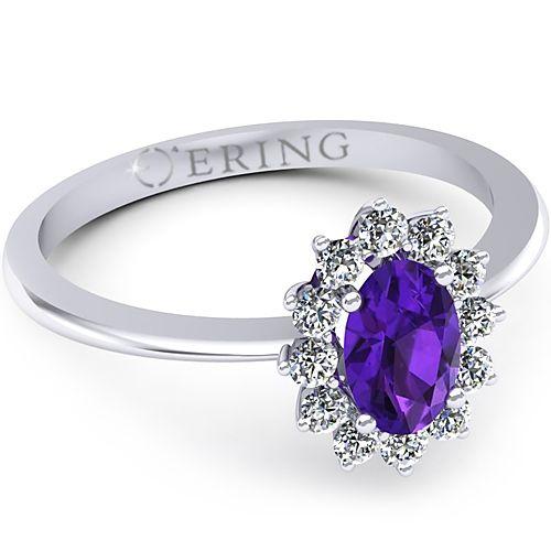 Inel logodna L34AAM inel cu ametist si diamante