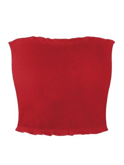 SHARE & Get it FREE   Ribbed Flounced Tube Top - Red SFor Fashion Lovers only:80,000+ Items • New Arrivals Daily Join Zaful: Get YOUR $50 NOW!