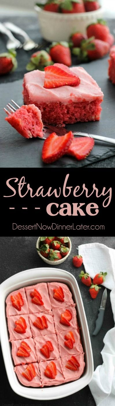 This strawberry cake uses fresh strawberries and flavored gelatin for a super flavorful strawberry sheet cake that will feed a crowd. It's really easy, and incredibly moist too! (Makes a great Valentine's Day dessert!)