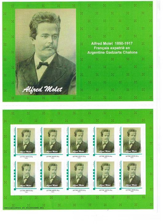 PLANCHE DE TIMBRES  ALFRED MOLET - Alfred Molet  - timbres-hommes-célébres
