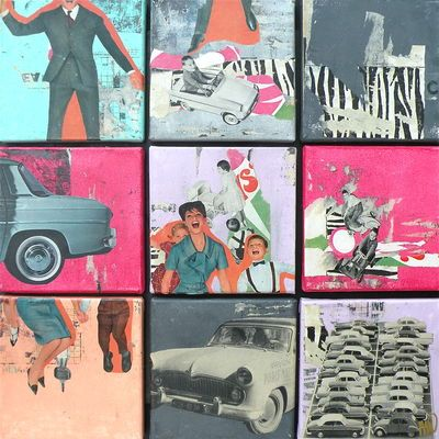 On show and for sale at Gallery Maison sur Pilotis, Beaulieu sur Mer, France - Family Car - Mix of 9 collages on canvas 60 x 60 cm