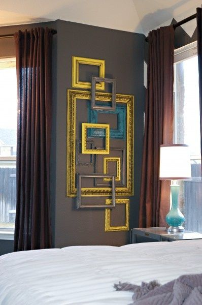Another cool way to decorate with your old frames = it would be great with different colors climbing up my 2 story framed in and painted chimney #Christmas
