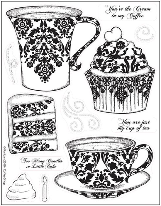 Kanban Crafts - Cafe Collection - Clear Acrylic Stamps - Coffee Shop