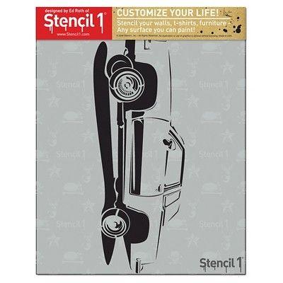 """Stencil1 Hydraulic Car - Stencil 8.5"""" x 11"""", White"""
