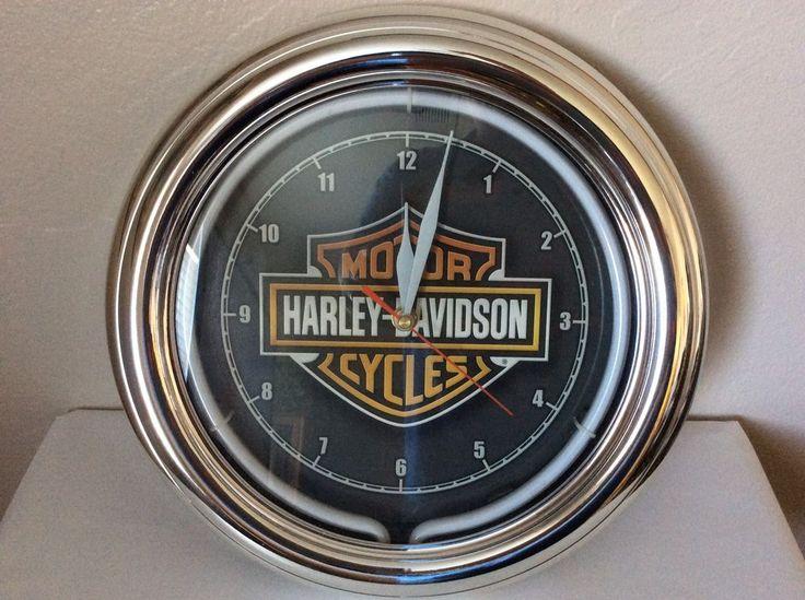 Harley-Davidson Essential Bar & Shield Neon Clock #HarleyDavidson #Retro