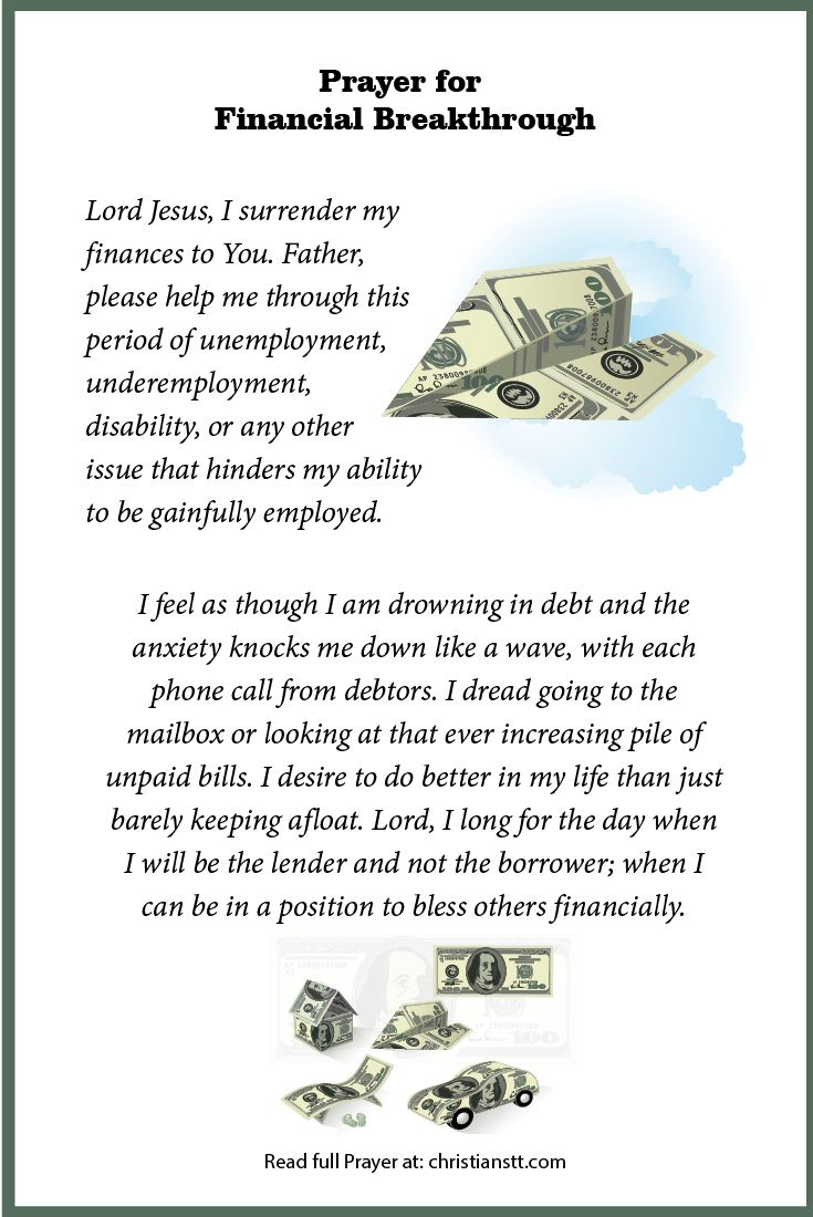 Prayer for Financial Breakthrough By Ria Lewis 18 Comments   Filed Under: DAILY PRAYERSPrayer for Financial Breakthrough
