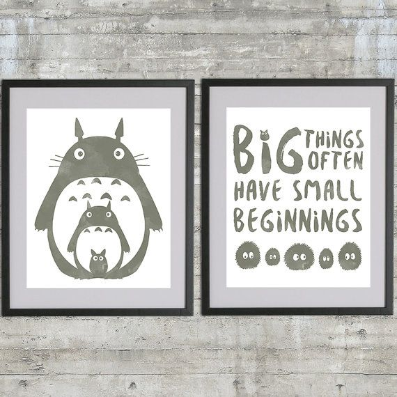 Totoro Art Printable, My Neighbor Totoro Poster Set With Totoro, Soot Sprites and Big Things Often Have Small Beginnings, set of 2 - 8x10s