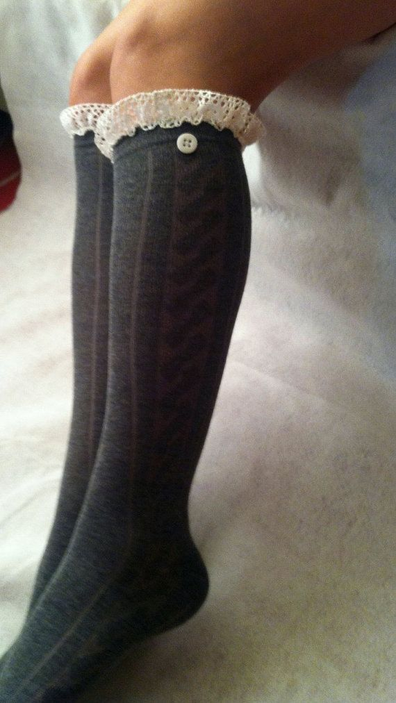 MUST HAVE knee high socks  in Grey cable knit boot socks leg warmers  1D one direction. $11.95, via Etsy.
