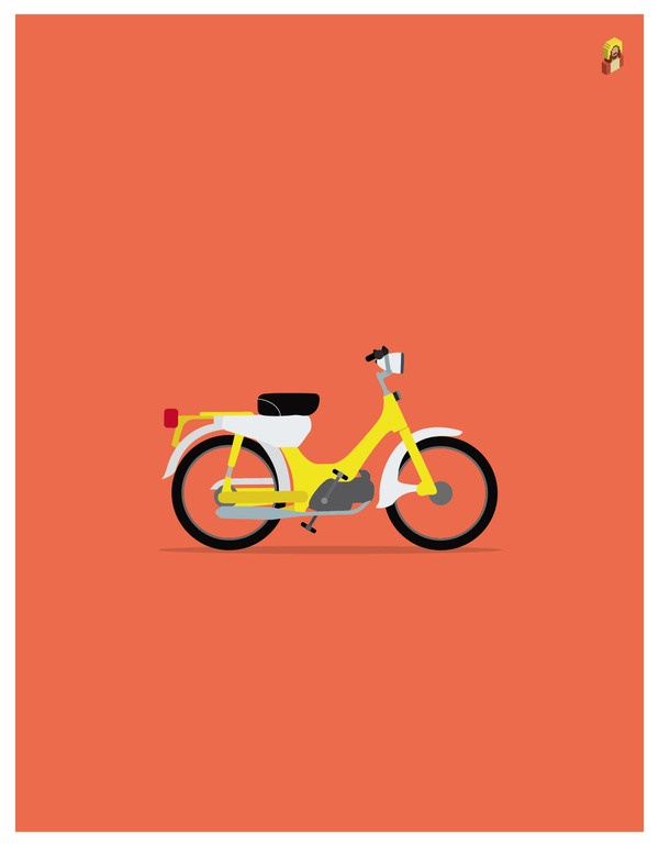 TOWN MOTORCYCLES by Gonzalo Rodriguez, via Behance: Graphic Design, Design Inspiration, Honda, Cub Fourstroke, Fourstroke 49, Beautiful Things