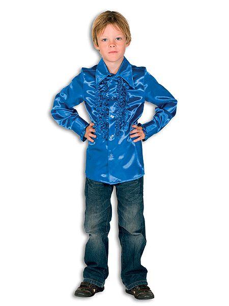Verkleedkleding luxe rouches shirt kobaltblauw voor kids