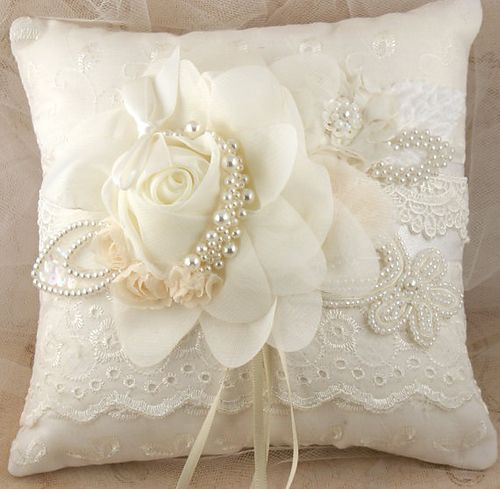 Vintage Elegant Ivory White Rose Lace Pearls Ring Bearer Pillow Cushion