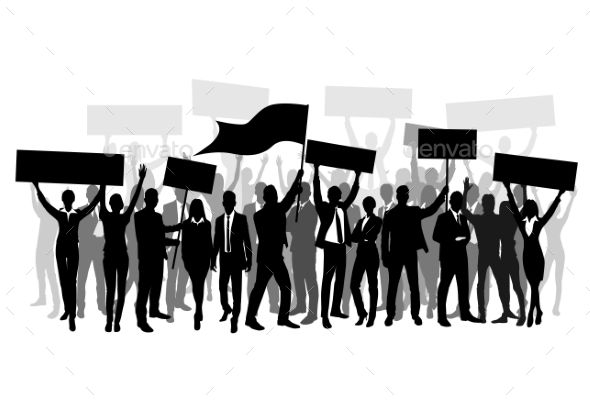 #Protest People #Crowd Silhouette, #Man Holding #Flag - #Concepts #Business #silhouettes #people #characters #isolated #illustration #vector #design