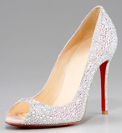 Christian Louboutin Crystal Encrusted Suede Pump