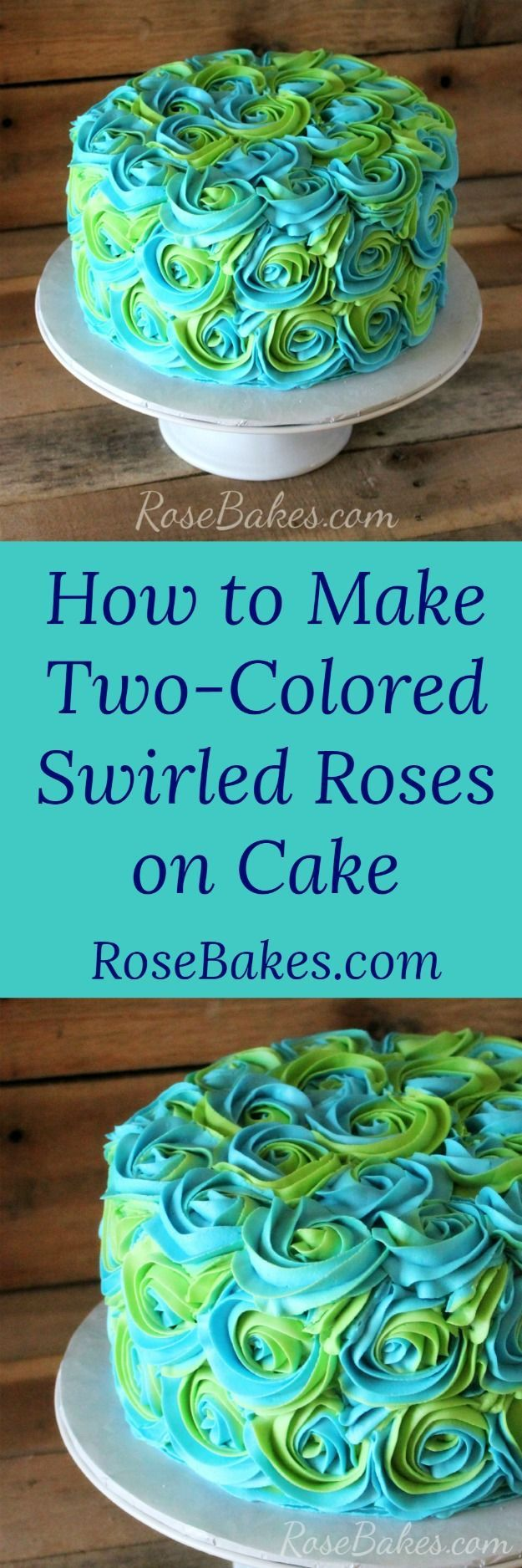 How to Make Two-Colored Swirled Roses on Cake | RoseBakes.com