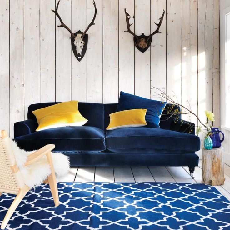I am LOVING this Midnight Blue Velvet Clio Sofa!  Graham & Green
