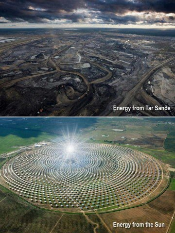 Notice any differences? Tar sands look like Mordor and the sunny one looks like the white citadel on the mountain place.