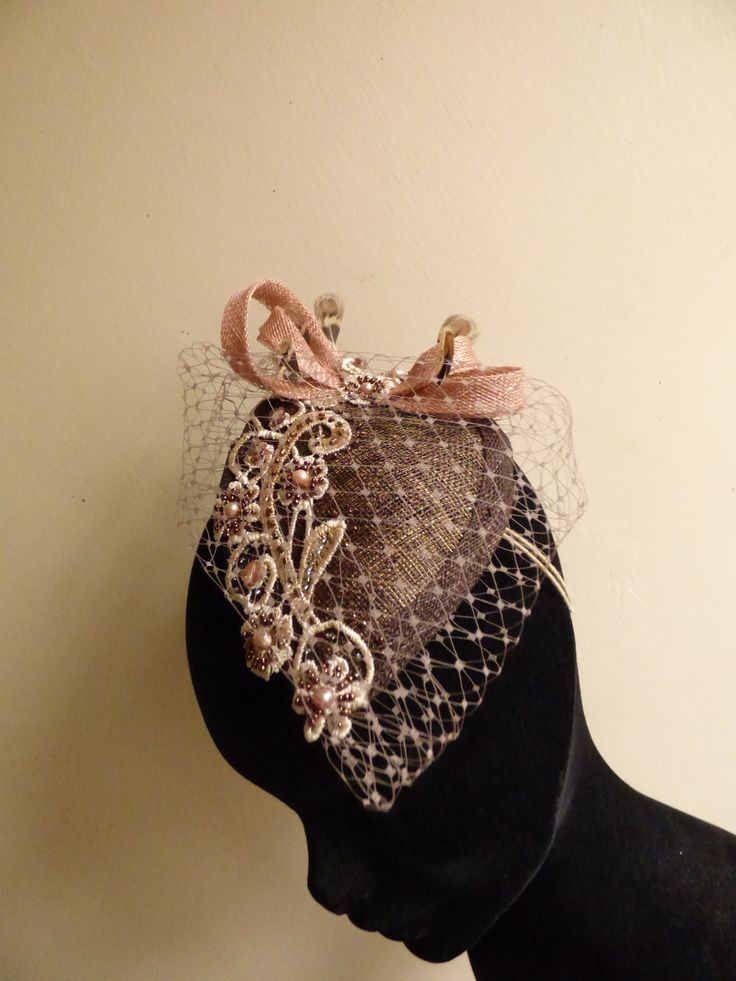 Chocolate brown fascinator. Teardrop fascinator with dusky pink sinamay loops and pheasent feathers. Embroidered lace and beige netting. Mother of the bride hat by N.Joy.Millinery