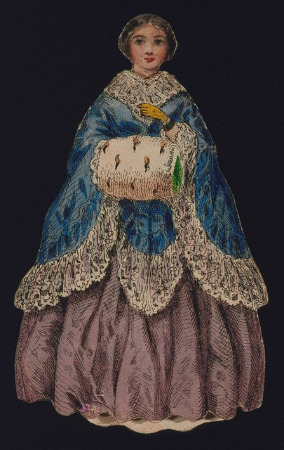 "Tombstone:  	Paper Doll Costume, ""Paper Doll Costume with Muff and Blue Cloak"", 1840–60.  		1840–60. 	Engraving with brush and watercolor on paper (machine cut?).Smithsonian, Cooper-Hewitt, Nationational Design Museum"