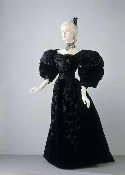 Evening dress, silk velvet embroidered with glass beads and sequins and net embroidered with beads lined with silk and stiffened with unspecified boning, 1894, possibly French or American.