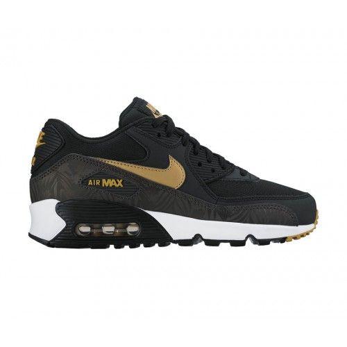 nike air max 90 white and gold,Nike Air Max 90 - Boys' Grade School -  Running - Shoes - Black/Metallic Gold/Deep Pewter/White-