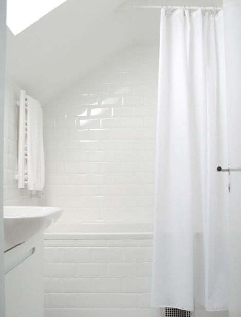 bathroom perfection = clean white subway tile