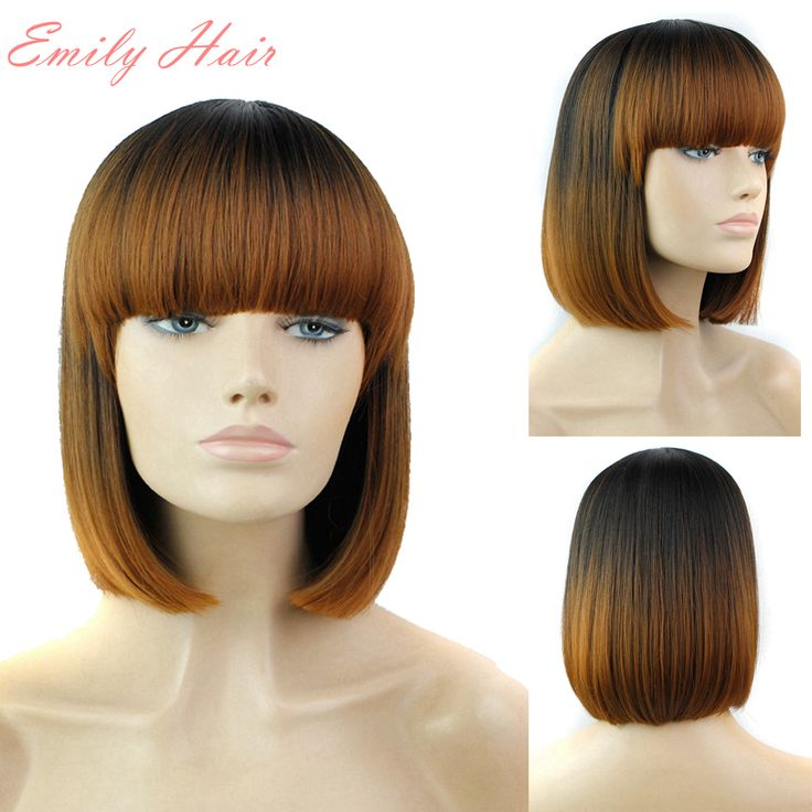 """Synthetic Wigs Full Bang Straight Short Wigs for Black Women 11"""" Cheap Synthetic Wigs pruik pruiken synthetische Ombre Hair *** See this great product."""