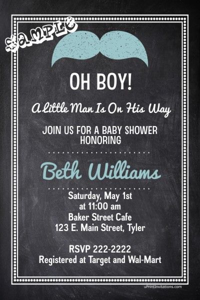 191 best images about baby shower on pinterest | little man party, Baby shower invitations