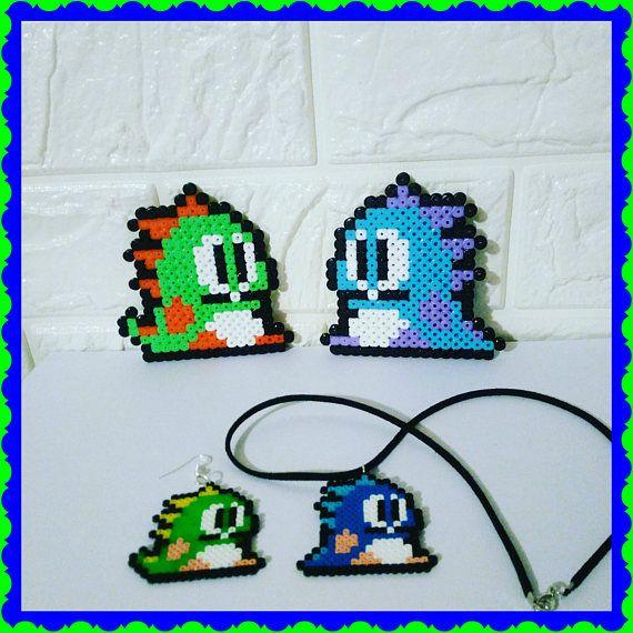 Bubble Bobble Mini Perler / Hama beads. Sprite. Pixel Art.